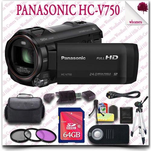 "Panasonic Hc-V750 Full Hd Camcorder + Wireless Remote + 64Gb Sdhc Class 10 Card + 57"" Tripod + 3Pc Filter Kit + Hdmi Cable + Slr Gadget Bag 14Pc Panasonic Saver Bundle"