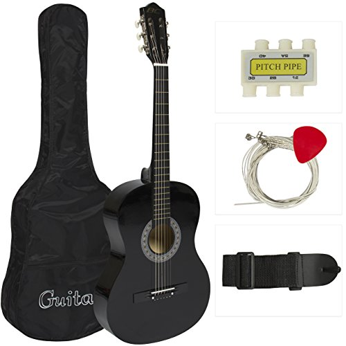 38 Black Acoustic Guitar Starter Package