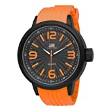 U.S. Polo Assn. Men's US9053 Black Dial Orange Rubber Strap