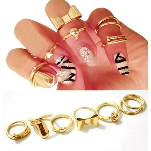 2014 Susenstore 7pcs Skull Bowknot Heart Nail Simple Band Mid Finger Top Stacking Rings Set