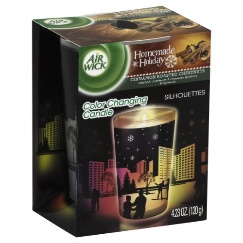 Air Wick Color Changing Scented Candle Silhouette Edition, Cinnamon Roasted Chestnuts, 4.23 Ounce