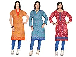 Indian woman's Three combo offer of cotton unstich Different multicolor kurti (RTS CDE 4)