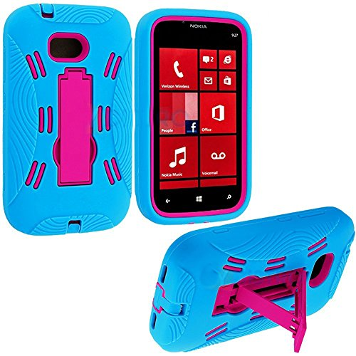 "Mylife (Tm) Sky Blue + Hot Pink Armorsuit Defender (Built In Kickstand) Tough Case For The Nokia Lumia 822 (4G) Verizon Wireless ""Windows Phone 8"" Camera Smartphone (Durable External Silicone Bumper Grip Gel + Hard Internal 2 Piece Snap Guard)"