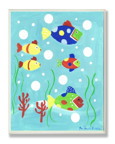 The Kids Room by Stupell Multi-color Fish Rectangle Wall Plaque