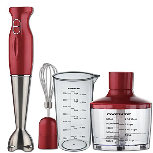 Ovente HS585R Robust Stainless Steel Immersion Hand Blender with Beaker, Whisk Attachment and Food Chopper, Red (Small Stainless Steel Blender compare prices)
