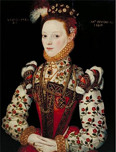 The High Quality Polyster Canvas Of Oil Painting 'British School- A Young Lady Aged 21, Possibly Helena Snakenborg Later Marchioness Of Northampton,1569' ,size: 18x24 Inch / 46x60 Cm ,this Cheap But High Quality Art Decorative Art Decorative Prints On Canvas Is Fit For Powder Room Gallery Art And Home Decor And Gifts