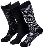 Mens Designer Dress Socks -6 Pairs- Black Modal Cotton Fashion Socks By Marino