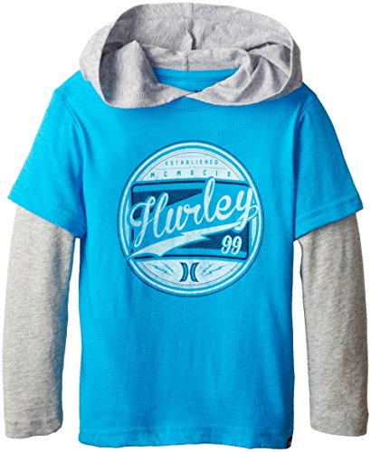 Hurley Little Boys' Class Act Loose Fit Slider, Baby Cyan Heather, 6 front-425107