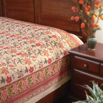 Tropical Garden ~ Colorful Red Floral Country Twin Size Bedspread 70X90 front-806095