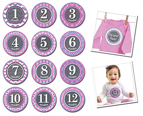 Sticky Bellies Baby Month Stickers - Patterned Princess 1-12 months