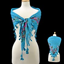 Turquoise Square Scarf with Tassels Lightweight