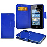 ONX3 (Blue) Samsung Omnia W I8350 Super Thin Faux Leather Wallet Flip Suction Pad Skin Case Cover With Credit / Debit Cards Slot
