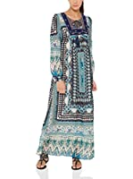 Tantra Vestido Largo Long print with Embroidery Chest (Azul)