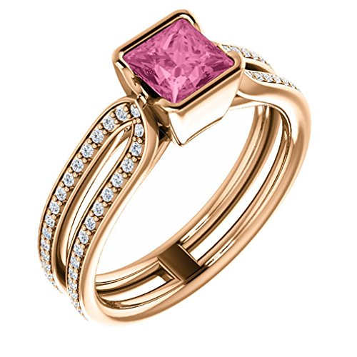 18K Rose Gold 5X5 Princess Cut Pink Sapphire And Diamond Ring