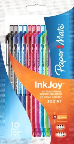 paper-mate-inkjoy-300-rt-kugelschreiber-10-er-bag-medium-schwarz-blau-rot-turkis-magenta-lindgrun-li