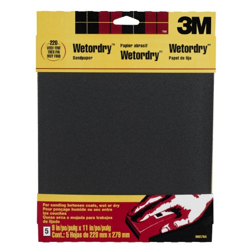 3M Wetordry Sandpaper, Very Fine Grit, 9-Inch by 11-Inch, 5-Sheet