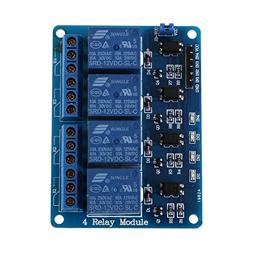 Vakind New 12V 4-Channel Relay Module With Optocoupler For Arduino Dsp Avr Pic Arm