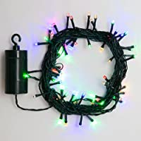 24 Ft. Multi Color Battery Operated 64 LED 8 Function Indoor Outdoor Cool Touch Holiday String Lights With 6 Hour Built In Timer by LampLust
