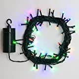 24 Ft. Multi Color Battery Operated 64 LED 8 Function Indoor Outdoor Cool Touch Holiday String Lights with 6 Hour Built in Timer and Batteries Included