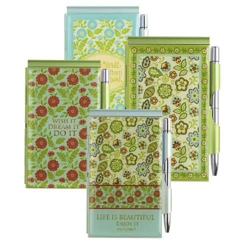 Grasslands Road Metal Spring Meadow Notepad With Pen Assortment, 4-Inch, Set Of 24