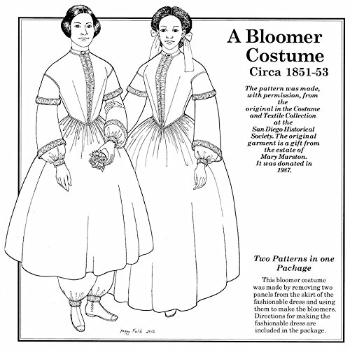 1851-1853 A Bloomer Costume and the Fashionable Dress Pattern (Size- Large 22-26)