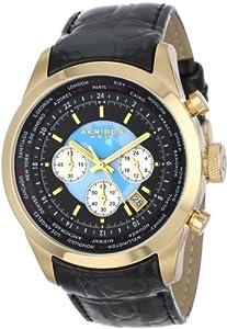 Akribos+XXIV Akribos XXIV Men's AK535YG Explorer Stainless Steel Leather Strap Chronograph Watch