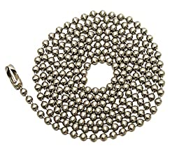 Pull Chain Extension, 30 Inch, Brushed Nickel Beaded Ball Chain With Connector, Pack Of 2