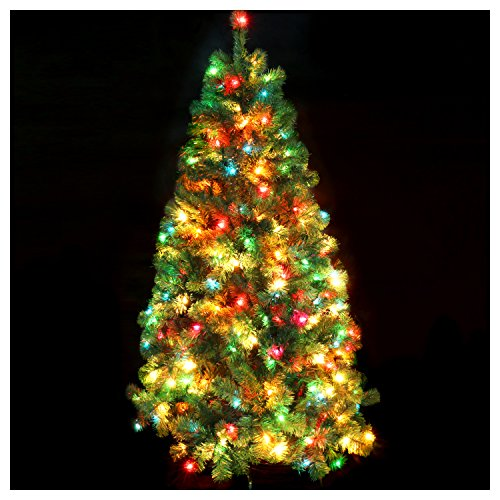 Deco-Claus-Artificial-Green-Christmas-Tree-Madison-Pine-Tree-with-Pre-lit-Multi-Colored-Lights-6-Feet
