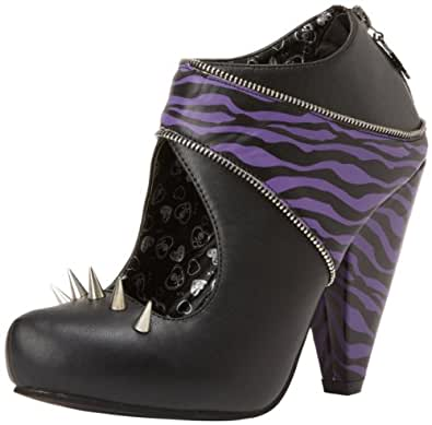 tuk shoes damen vorne geschlossen black purple zebra print gr e 36. Black Bedroom Furniture Sets. Home Design Ideas