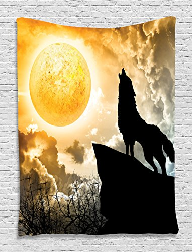 Animal Tapestry Black Wolf Silhouette Howling Thunderstorm Full Moon Light Mystic Night Monochrome Scary Scene Art Charcoal Decor Tapestry Hanging Dorm Bedroom Living Room, Yellow White and Black