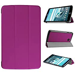 LG G Pad F 8.0 Case, Pasonomi Ultra-Slim and Ultra-light PU Leather Folio Case Stand Cover With Smart Cover Auto Wake / Sleep Feature for LG G Pad F 8.0 inch [AT&T 4G LTE Model V495 and T-Mobile 4G LTE Model V496] Android Tablet (Slim Series Purple)