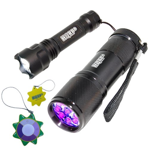 Hqrp 9 Led 365Nm Uv Flashlight For Mineral Hunting And Compact Ultra-Light Led Flashlight For Shine The Territory Plus Hqrp Uv Meter