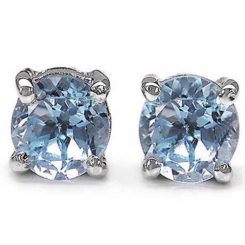 .925 Sterling Silver Blue Topaz Gemstone Round Stud Earrings