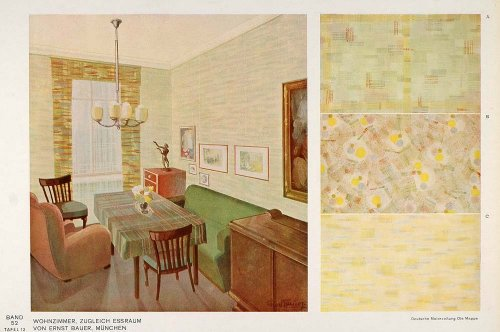 1932 Art Deco Living Room Sofa Table Wallpaper Print   Original Color Print