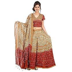 Kiran Udyog Gorgeous Multicolorcolor Cotton Handmade Bhandej & Sequin Work Lehenga Choli 718