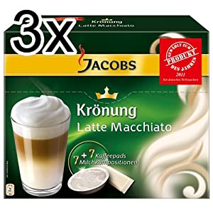 Jacobs Krönung Latte Macchiato, Pack of 3, 3 x 7 Coffee Pods + Topping