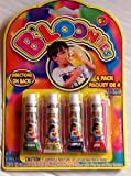 BLOONIES Blow up Bubble Balloons ~ Blow up with a Straw or Tube ~ 4 Straws & 4 Tubes of Gooey Plastic Colors!