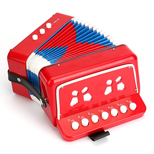 Tosnail-Kids-Piano-Percussion-Accordion-Musical-Toy-Red