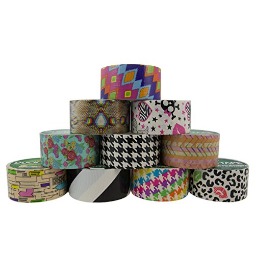 10 Rolls Bulk Lot Colored Duck Duct Tape Pack Print Patterns DIY Arts Crafts Projects 100yds Hobby (Print Packaging Tape compare prices)