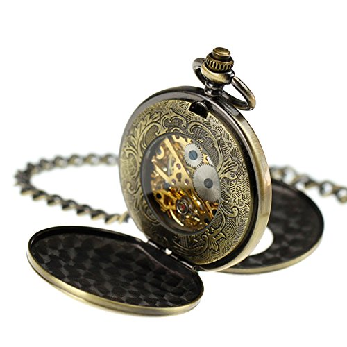 Pacifistor Bronze Men's Classic Vintage Antique Hand Wind Up Semi Automatic Skeleton Mechanical Roman Numeric Analog Pocket Watch +Fob-Chain #PX-012-BRZ