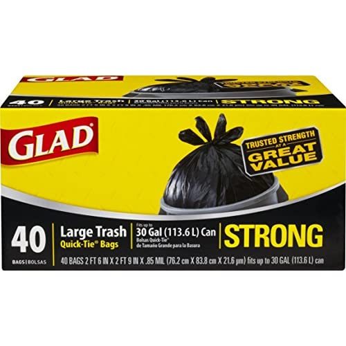 Glad Strong Quick-Tie Large Trash Bags - 30 Gallon - 40 Count - 4 Pack (Packaging May Vary)