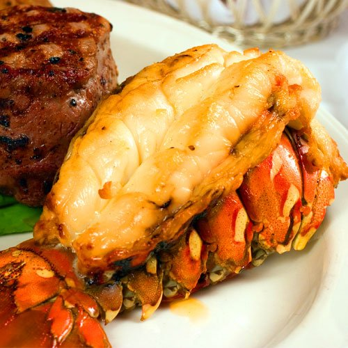 FREE EXPEDITED SHIPPING 2-3 DAYS Surf And Turf (8) 4-5oz Gourmet Cold Water Lobster Tails and (8) 8oz Flat Iron - Seafood Gifts