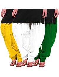 Women's Yellow-White-Green Cotton Patiala Salwar