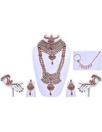 Designer Magenta Stone Patwa Wedding Bridal Jewellery Set