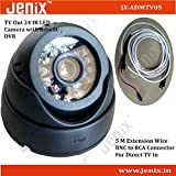 Jenix CCTV DOME CAMERA VIDEO & AUDIO Recorder WITH 24 IR AND INBUILT DVR & TV Out Memory Card Slot With BNC To Tv In Converter Lead Of 5 Metre