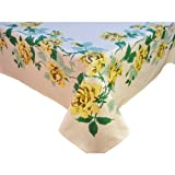 Vintage Reproduction Yellow Rose Tablecloth 52'' Square