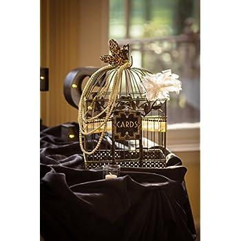 Vintage Bird Cage, Rectangular, 14 in. & 17 in., Black & Gold, Set of 2