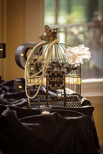 Vintage Bird Cage, Rectangular, 14 in. & 17 in., Black & Gold, Set of 2 0