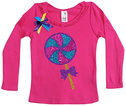 Bubblegum Divas Little Girls' Birthday Lollipop Candy Long Sleeve Shirt