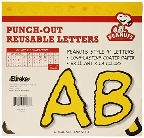 "Eureka Reusable 4"" Deco Letters, 200 Pieces, Peanuts Yellow Letters Yellow - 1"